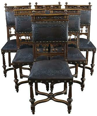 Dining Chairs Antique French Renaissance 1890 Set 6 Brown Leather Walnut