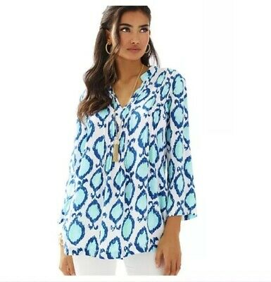 3002b07fca2 WOMEN'S LILLY PULITZER Sarasota Tunic Top Shirt Beaded Lobstah Roll ...
