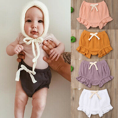 AU Baby Girl Cotton Bowknot Elastic Waist PP Pants Bloomers Shorts Nappy Cove
