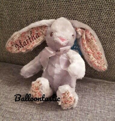 Personalised Embroidered grey Bunny Rabbit soft toy. Easter, Gift baby. On 1 ear