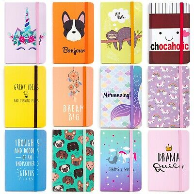 Kids Hardback Lined Pocket Notebook Notepad School Girls Boys Diary A6 90 Pages