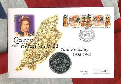 ISLE OF MAN - Mercury 1996 FDC - CROWN COIN COVER QUEEN'S 70th BIRTHDAY