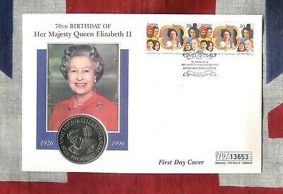 GUERNSEY GB QEII PNC COIN COVER 1996 70TH BIRTHDAY QUEEN £5 Coin UNC ROYAL MINT