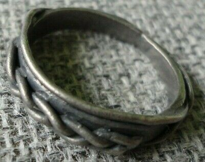 Rare Unique Stunning Ancient Silver Viking Twisted Ring C 8th / 11th.cent AD.