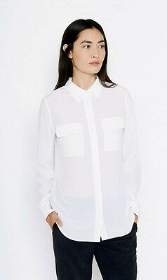 7938f594f2a5ea NEW $298 EQUIPMENT ESSENTIAL SILK SHIRT BRIGHT WHITE NAUTICAL BOAT ...