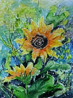 ACEO sunflower bloom original watercolor painting card picture by Europe artist