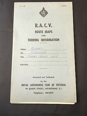 Vintage Road Map RAC VIC RACV TOURING GUIDE Albury - Adelaide, Murray Valley Hwy