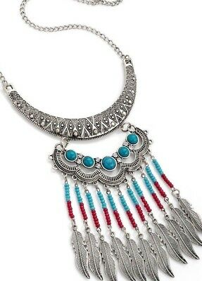 Native Dual Red Feather /& Stone Beads//Deep Red Suede Necklace Zx292