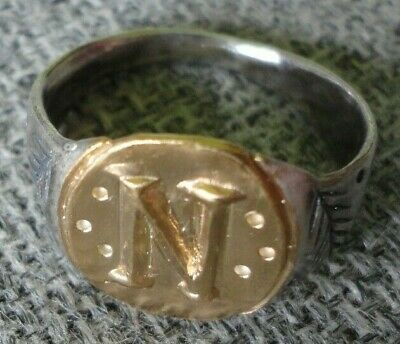 """Ancient Roman Senatorial Legionary Gold Silver ring Inscribed one letter """" N """""""