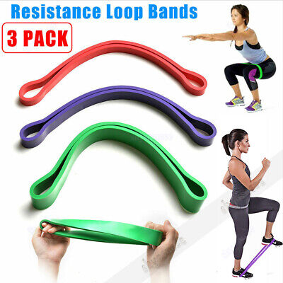3 Level Resistance Exercise Loop Bands Home Yoga Gym Heavy Fitness Natural Latex