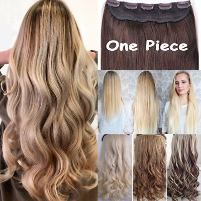UK Real Long Clip in Hair Extensions One Piece Half Full Head Straight Curly HF2