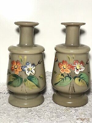 Pair Antique Victorian BRISTOL GLASS VASE Candle Holders Clambroth Paint Flowers