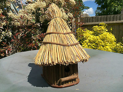Garden Bird Table House Thatched Roof
