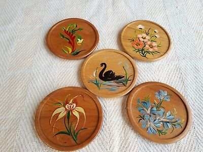 Wooden drink Coasters Western Australia Wildflowers hand painted Set 5 Swan