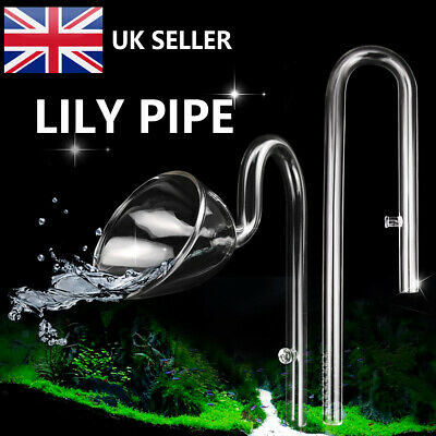 Aquarium Glass Outflow & Inflow Lily Pipe 13mm Tube + Suction Cup UK