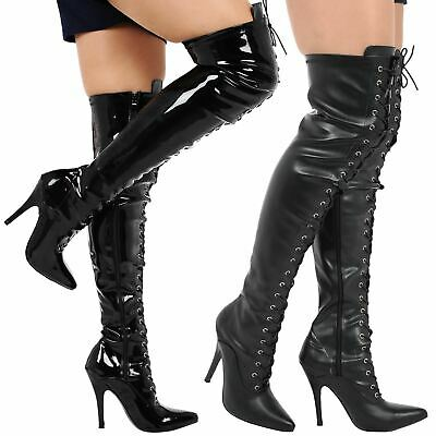 2bfa69408e Destiny Womens Thigh High Stiletto Heels Lace Up Pointed Toe Boots Ladies  Size