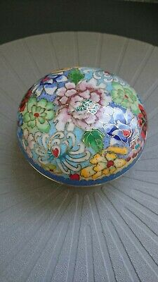 Vintage Chinese copper gilt and enamel precious objects box