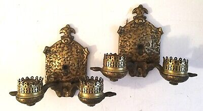 Antique Pair Arts & Crafts Hammered Brass Double Light Wall Sconces Lamps
