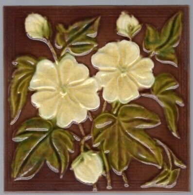 Decorative Art Tile Co c1885 - White Flowers - Antique Victorian Majolica Tile