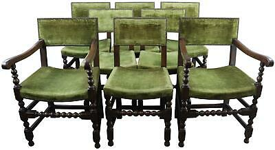 Dining Chairs Renaissance Green Set 8 Oak Wood Upholstered Antique French 1900