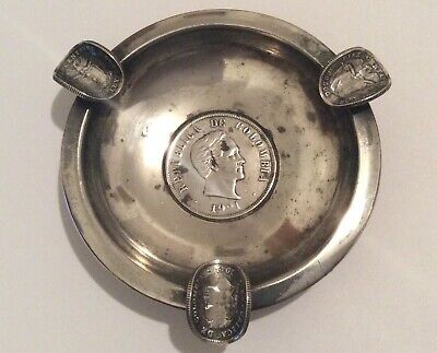 Estate 1921 Sterling Silver Colombia 50 Centavos Ashtray 3""