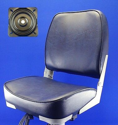 Quality Folding Navy Blue Boat Helm Seat Swivel Plate Speed Boat Fishing - TU4