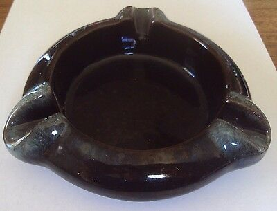 "Vintage Canuck Pottery Canada Ashtray Brown & Blue ~ # 41 ~ 6"" dia."