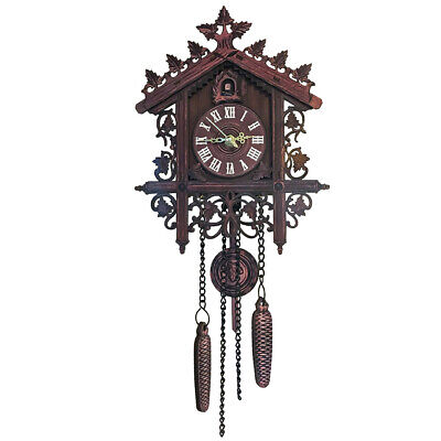 Antique Retro Style Carved Timber Cuckoo Clock Tree House Swing Wall Clock Decor