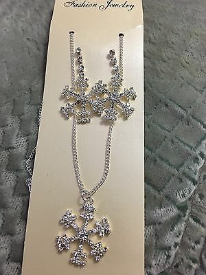 Silver Bridesmaid Crystal Necklace Earrings Set Wedding Bridal Jewelry Jewellery