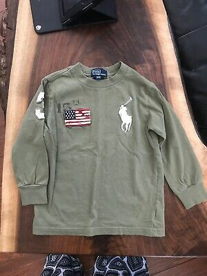 Polo By Ralph Lauren 3T Long Sleeve Tee T-Shirt Embroidered Army Green