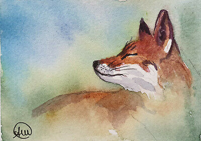 hidden fox - ACEO ORIGINAL WATERCOLOR PAINTING miniature
