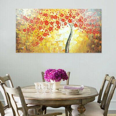 Modern Abstract Hand Painted Wall Art Canvas Oil Painting : Flower Tree Framed