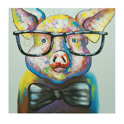 Abstract Hand Painted Art Oil Painting Canvas Modern Home Decor Framed Dr. pig