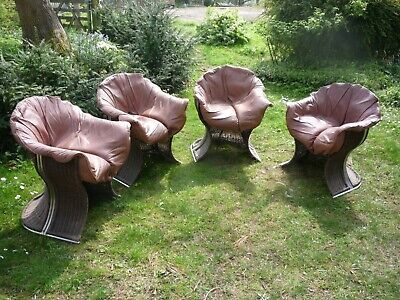 PIEFF vintage wicker & leather conservatory chairs (4)
