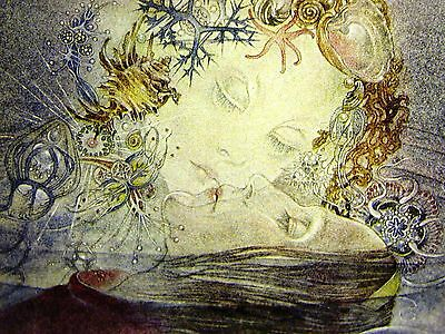 Sulamith Wulfing MERMAID KISSING PRINCE in the SEA 1975 Vintage Art Print Matted