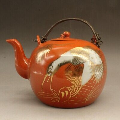 Chinese old hand-made porcelain red glaze teapot/tongzhi mark