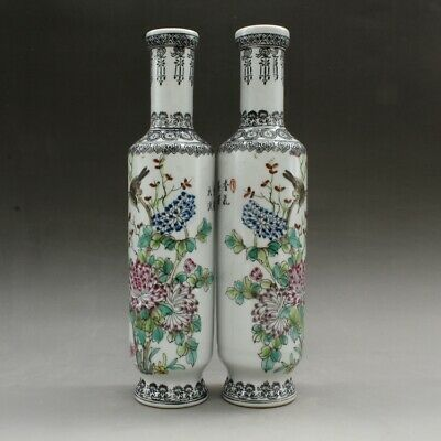 a pair China old hand-made famille rose Flowers and birds vase