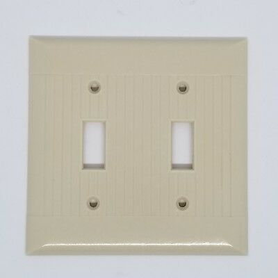 Sierra Vintage Bakelite Double Light Switch Cover Plate Ribbed Ivory