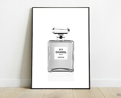 Chanel Perfume Bottle Print Grey Art Dressing Room Prints A4