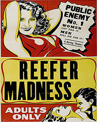 VINTAGE ADULTS ONLY MARIHUANA MARIJUANA MOVIE POSTER A2 PRINT