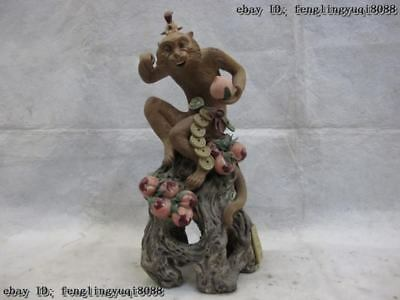 14 Chinese Folk Handwork Pottery WuCai porcelain Monkey King Hold peach Statue