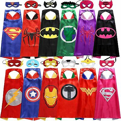 Superhero Dress Up Costumes Satin Capes with Felt Masks for Kids Party Cosplay