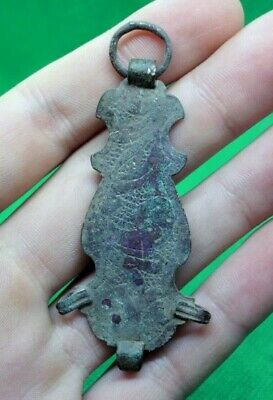 Large Ancient Celtic Bronze Amulet Pendant - 100 Bc - Rare