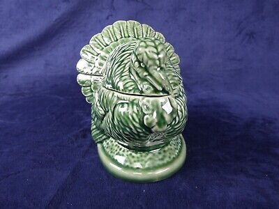 Bordallo Pinheiro Portugal Green Turkey Mini Tureen Candy Dish