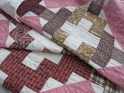 Vtg Antique QUILT Hand Stitched Early Red Madder Brown Indigo Fabrics 86 X 72