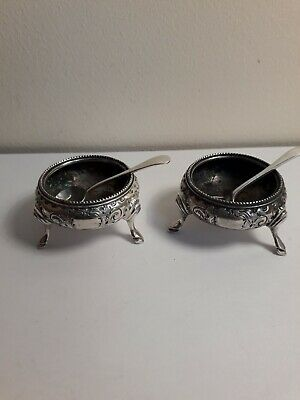 2 Silver Plated Salts with Spoons, MH & Co (Martin Hall & Co) Early 20th C.