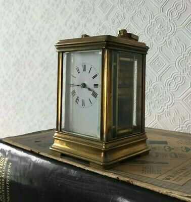 Couaillet Freres, Antique Brass, French Petite Carriage clock, 8-day clock