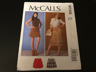 McCalls Pattern M7438 Ms Skirts w//Overlays~Front Pleats~Self Fringe Variations