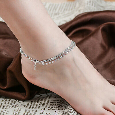 Women Silver Plated Chain Anklet Bracelet Barefoot Sandal Beach Foot Jewelry New
