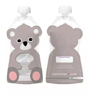 NEW Squooshi Reusable Food Pouch | Animal Koala 6 Pack | 6 Oz. Size! SHIPS FREE!
